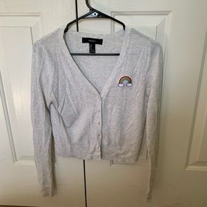 Button up sweater with rainbow patch